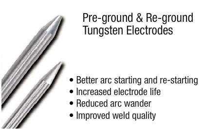 Pre-ground & re-ground tungsten electrodes